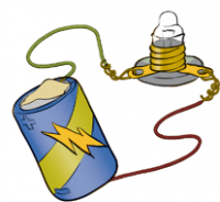 Illustration of battery with copper wires taped to each end connected to mini light bulb