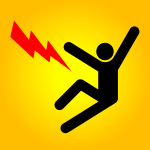 Illustration of lightning bolt next to stick figure with arms in air