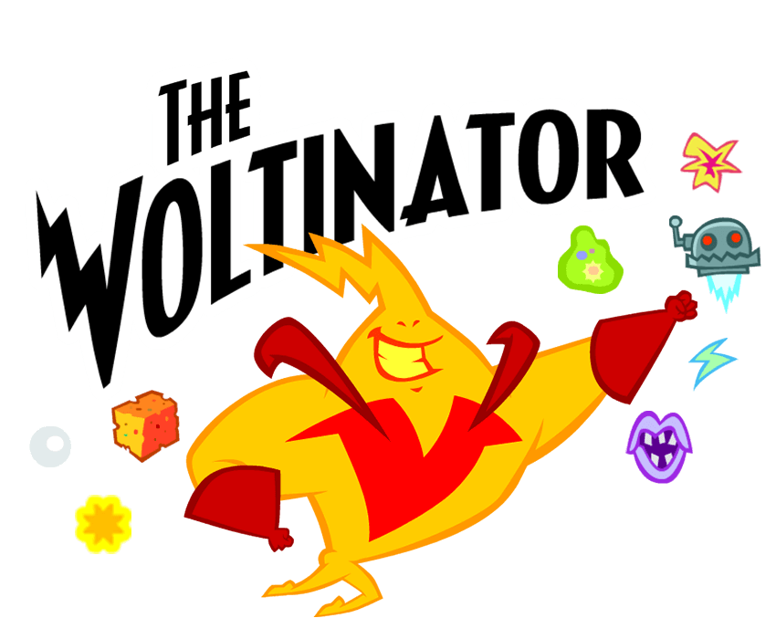 The Voltinator Game an illustrated bolt of energy cartoon character