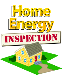 Home Energy Inspection illustration of house on lawn