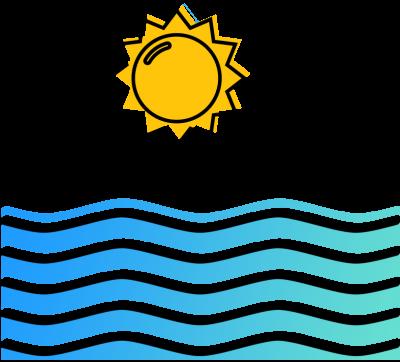 Illustration of ocean wave with sun overhead