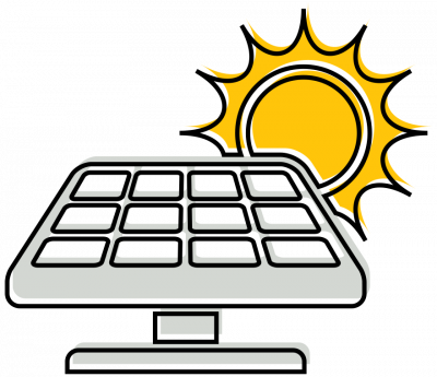Illustration of a solar panel and sun