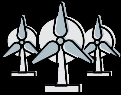 Illustration of three turbines for wind power
